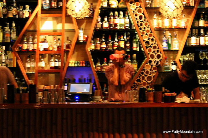 Funny bartender by the bar