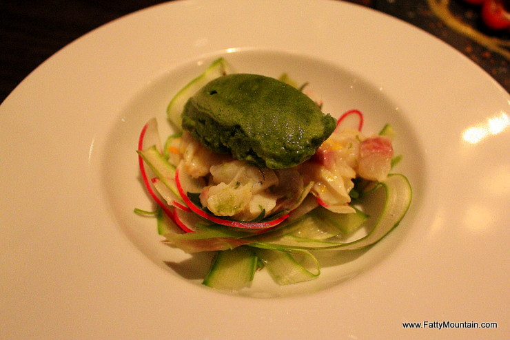 Sea Bass Ceviche with Tomato, Basil Sorbet, Radish and Sea Purslane