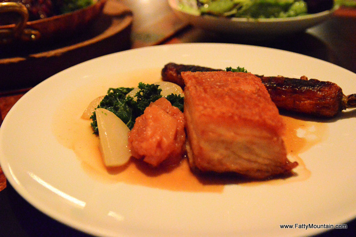 Plantation pork belly, turnip, forgotten carrots & pickled quince