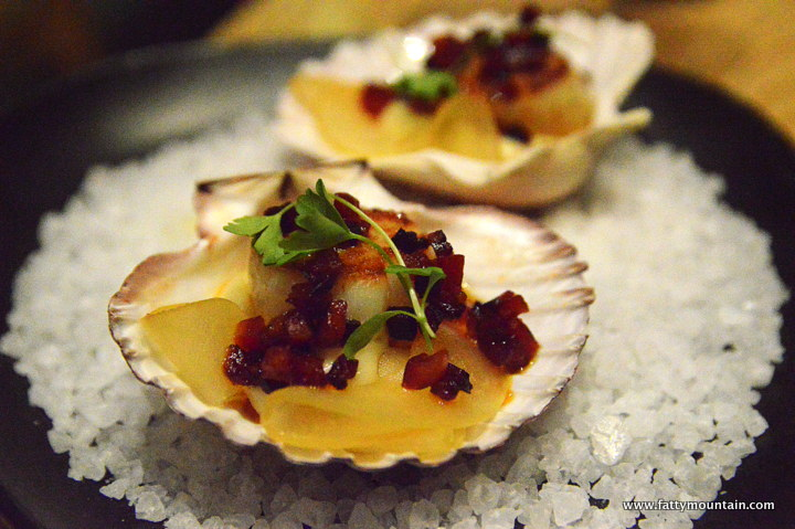 Scallop with chorizo and pickled apple