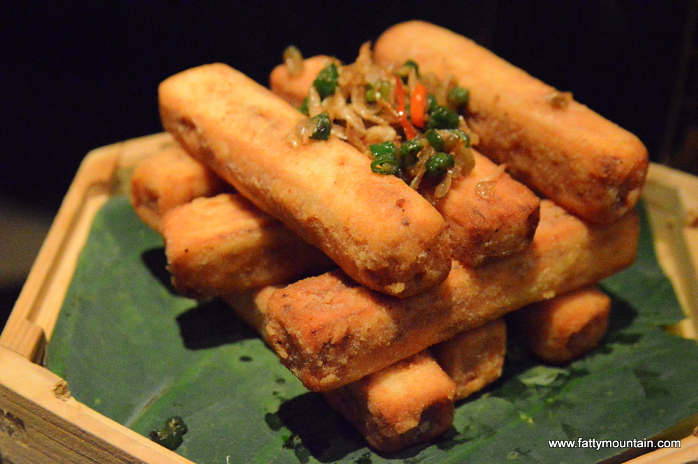 Crispy aubergine tossed with salted fish & Chinese chives