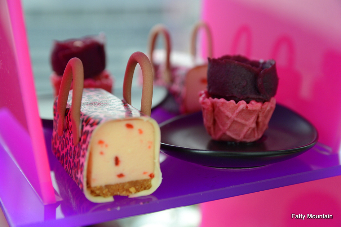 Pink leopard roselle cheese mousse